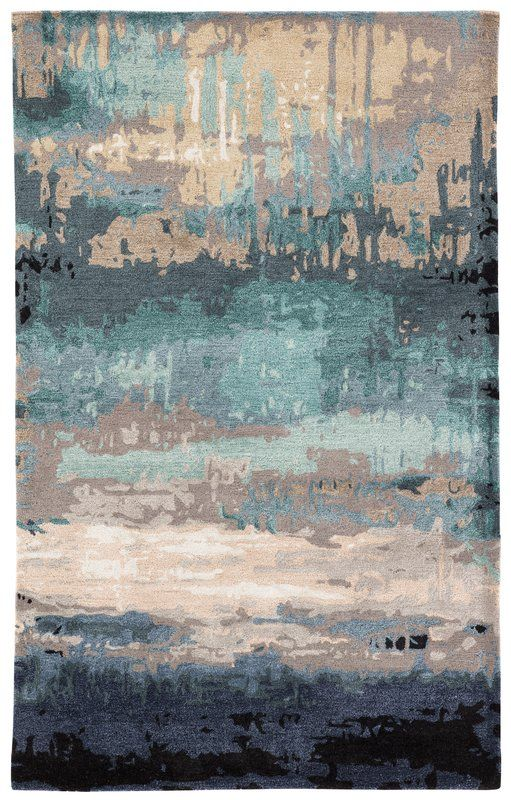Fairmount Abstract Hand Tufted Wool Blue Beige Area Rug With