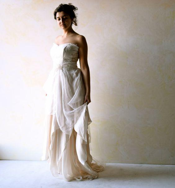 Boho Wedding Dress Alternative Wedding Gown Strapless by LoreTree