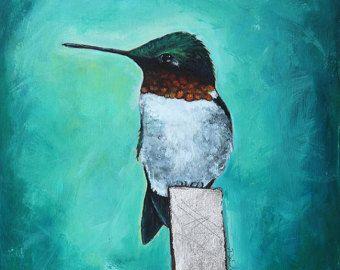 Bird painting Hummingbird bird illustration art by DianeAckers