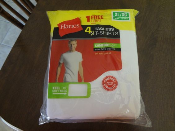 Men's 4 pack of Tagless T-shirts(Hanes) Size XL