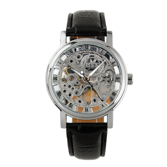 wrist watches silver and skeletons silver skeleton hand wind up mechanical wrist watch for men wm119 ess