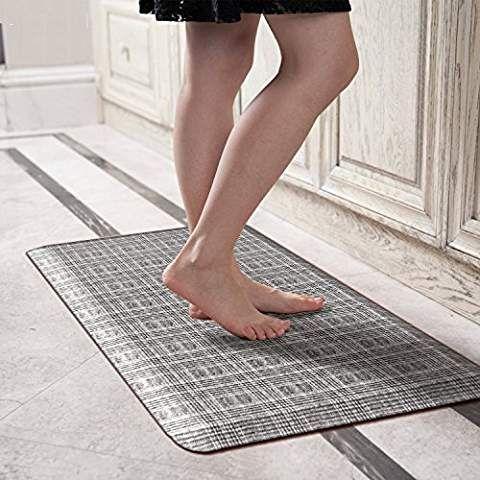 Licloud Anti Fatigue Designer Comfort Kitchen Floor Mat Standing Mat Black White Plaid 20x39x3 4 Inch Anti Fatigue Kitchen Mats Kitchen Mats Floor Floor Mats