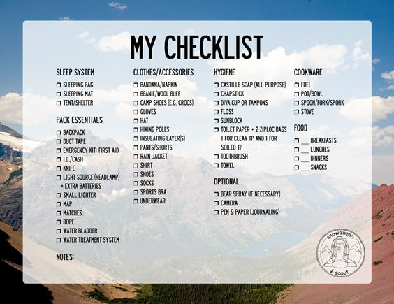 When I'm preparing for a trip, I have to go through my gear many times to  make sure I packed everything. The checklist below is where I've landed for  optimizing simplicity without compromising all of my comfort.  Below are gear checklists you can print and use as you prepare for your  trip.  Here are four options: Glacier, Map, Fall, & Printer-Friendly.  Is there anything you'd add or delete on this list?