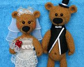 Bears-newlyweds will always remind the newly-married of the most beautiful and touching day in their lives, and of you, as the one who made such such an original gift.  The Bears are made by dry felting technique. For their create was used New Zealand wool. The groom's suit is made of felt, bridesmaid dress - lace.  Please, look more my toys here: https://www.facebook.com/pages/Your-Bead/491983414195777#!/pages/Your-Bead/491983414195777