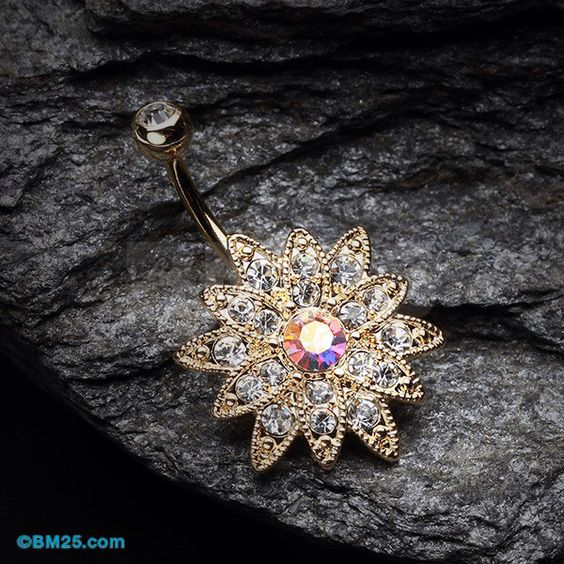 Golden Chrysanthemum Flower Belly Button Ring by BM25Jewelry on Etsy https://www.etsy.com/listing/207283793/golden-chrysanthemum-flower-belly-button