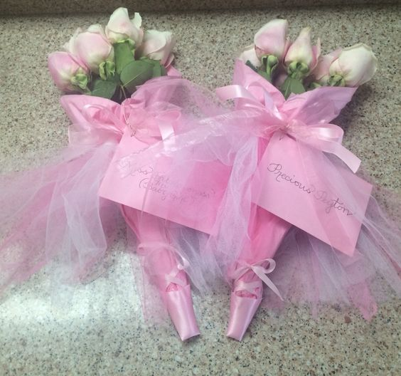 Dance recital roses with tutu's and toe ballet shoes.  Dance recital gift.