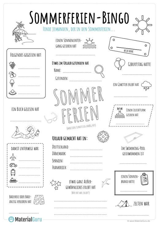 Sommerferien Bingo Kostenlose Arbeitsblatter Kunstunterricht Schule Arbeitsblatter