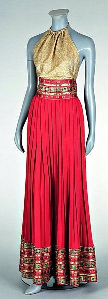 vintage Crahay for Lanvin gold and red evening ensemble, ca. 1970s. Looks like an outfit my mother wore in the 70's!