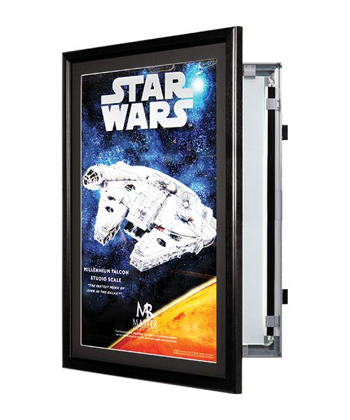 Swingframe Lightbox Backlit Movie Poster Display Frame Features A Black Metal Frame With Black Beveled M Movie Poster Display Poster Display Movie Poster Box