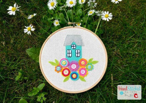 Floral Home Embroidery Hoop  Hoop Art Gift by HandstitchedbyJade
