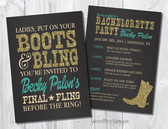 Country Western Bachelorette Party Invitation by SweetBeeShoppe