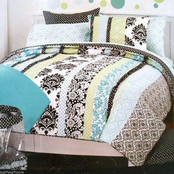 Twin Xl Comforter 9pc Set Cynthia Rowley Dorm Aqua Black