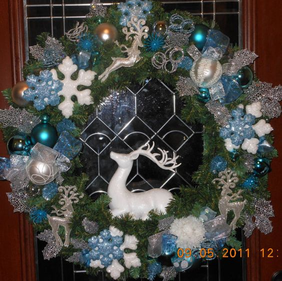 SALE  Christmas Wreath Silver & Blue Glitter by GreengirlWreaths, $125.00
