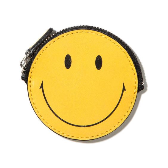 SECOND LAB Smiley Coin Case (£55) ❤ liked on Polyvore featuring bags, wallets, filler, change purse, co-lab bags, change purse wallet, yellow wallet and coin purse wallets