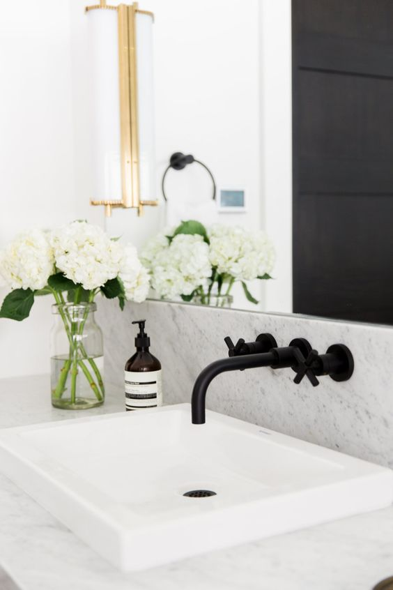 Faucet and shallow sink  Matte Black Fixtures || Studio McGee: