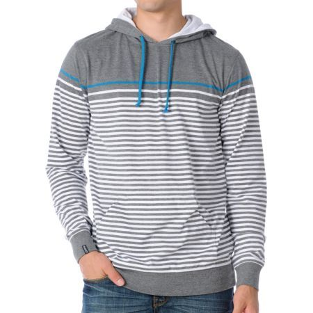 Empyre Blanks Grey Stripe Knit Hooded Pullover Sweatshirt