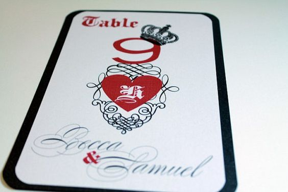 Vegas Theme Wedding Table Number Reception