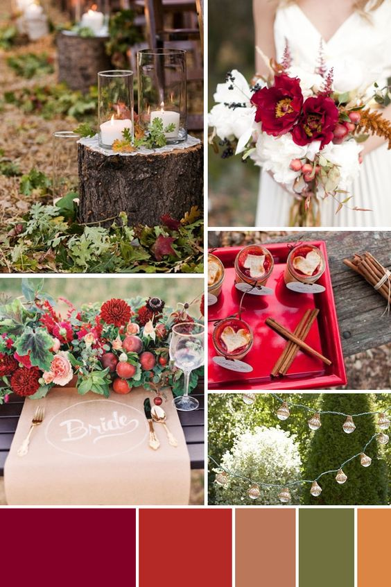 Style: Rich Rustic Romance; Colors: Cranberry, Cinnamon, Natural, Ivory