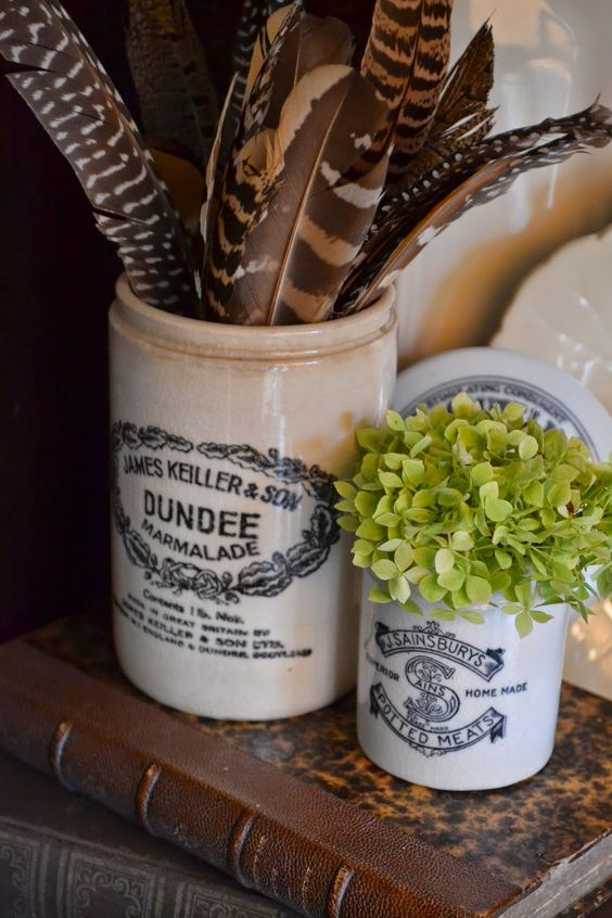 antique Dundee marmalade Little vignette of natural elements, English crocks - The Polo House