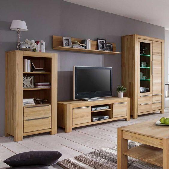 Wohnwand Wohnzimmer TV-Board Wandboard Vitrine Hängeschrank - wohnzimmer kernbuche massiv