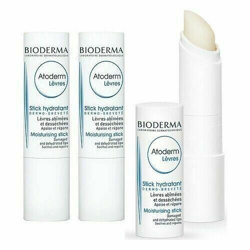 Bioderma Atoderm Lips Moisturising Stick Lip Balm Set Of 3 New