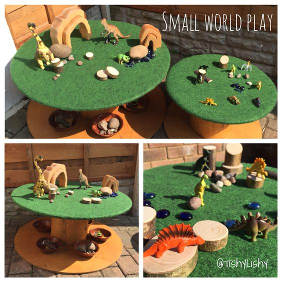 My DIY project. Turning two cable reels into small world play surfaces.