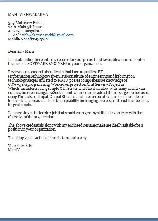 cover letter for cv Excellent Job Application Cover Letter   Email - post my resume