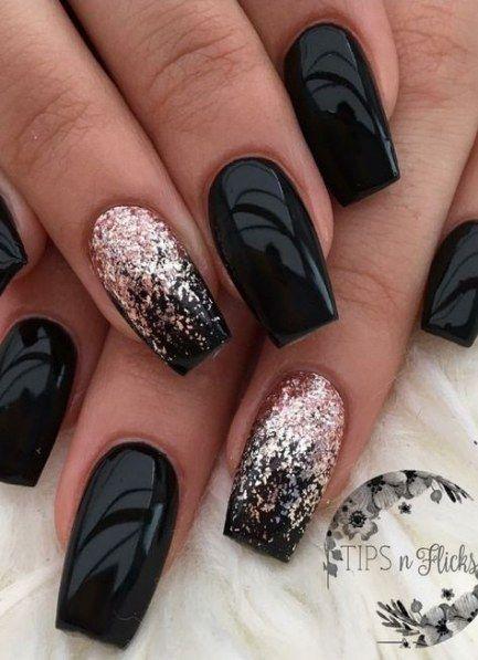 Nails Black Silver Glitter Ring Finger 67 Ideas Nail Designs Cute Nails Pretty Nails