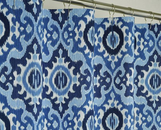 Navy Blue Ikat Shower Curtain 72 x 72 LINEN by PondLilly on Etsy ...