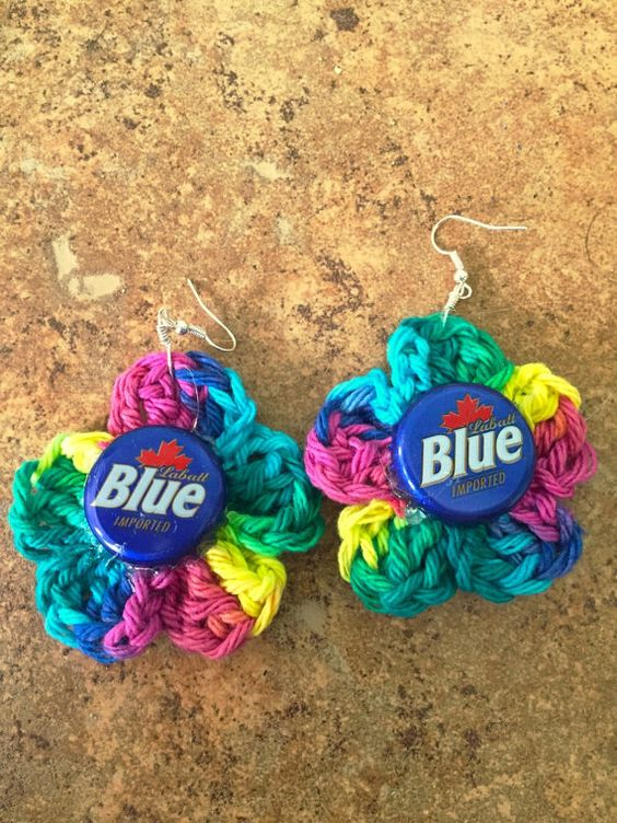 Crochet beer cap earrings by TheMellowYellowLab on Etsy