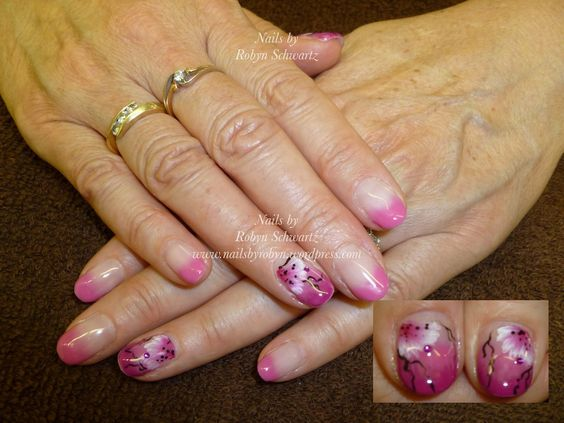 Gel nails, hand painted flowers