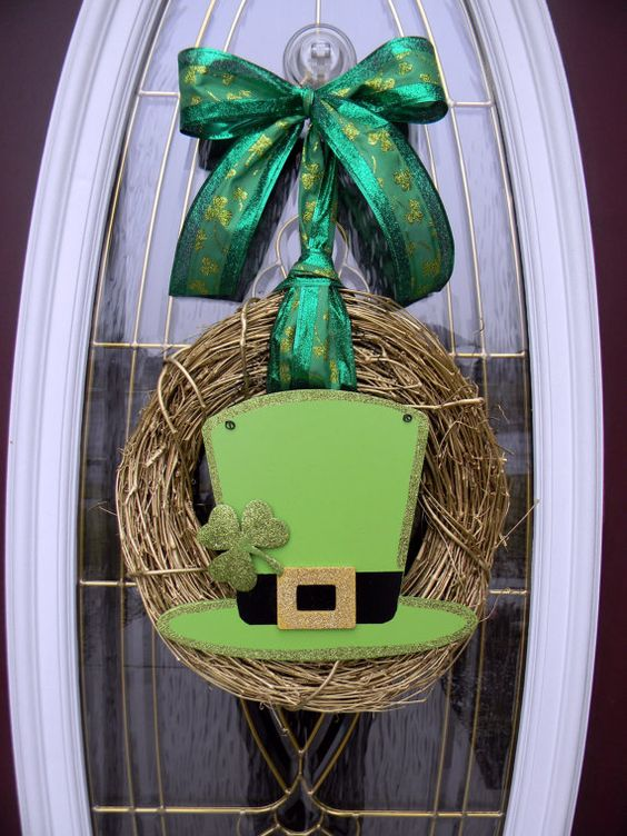 St patricks day grapevine door wreath decor leprechaun for Decor st