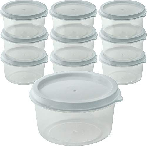 Decorrack 10 Mini Containers With Lids 3 Oz Bpa Free Plastic Baby Food Storage Jars Small Clear Empty Cups Jar Storage Baby Food Storage Sewing Equipment