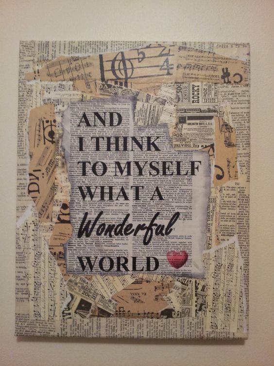 "Mixed media canvas ""What a Wonderful World"" on Etsy, $22.00:"