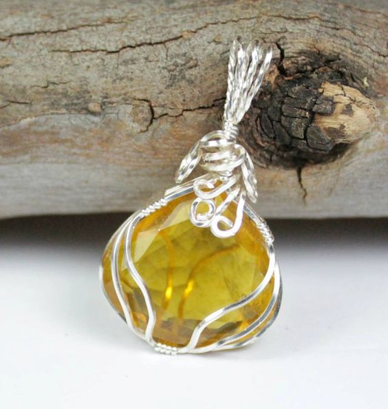 Yellow Fluorite Wire Wrapped Pendant  by LunaCelesteAustralia