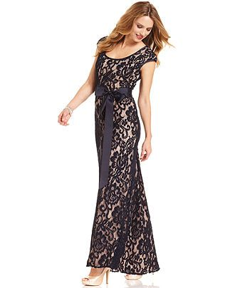 Navy - Betsy &amp Adam Dress Cap-Sleeve Belted Lace Gown - Dresses ...