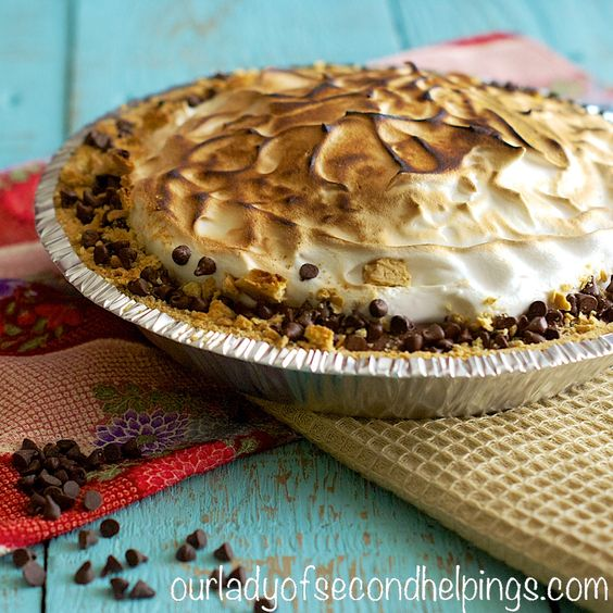 """S'more Pie—Chocolate Pudding, """"Marshmallow"""" Topping and Graham Crust"""