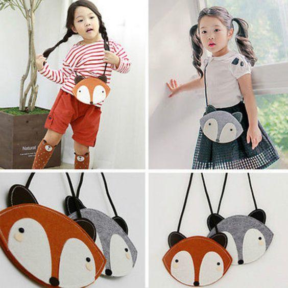 Fox Criança Crianças Meninas Saco de Mão Bolsa de Ombro Sacos Do Mensageiro Da Escola Das Crianças