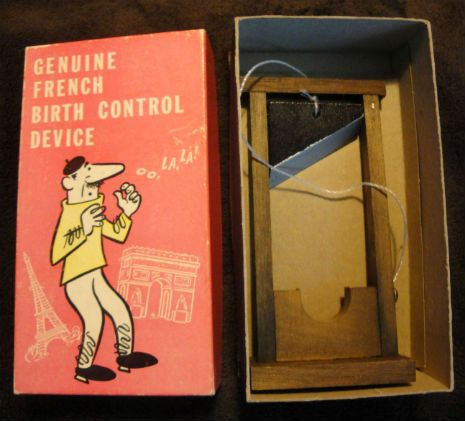 "In 1969, the New York-based Franco American Novelty Co. manufactured this silly gag gift called the ""Genuine French Birth Control Device."" I wonder if this road would make some politicians more positive about allowing women to get their birth control"