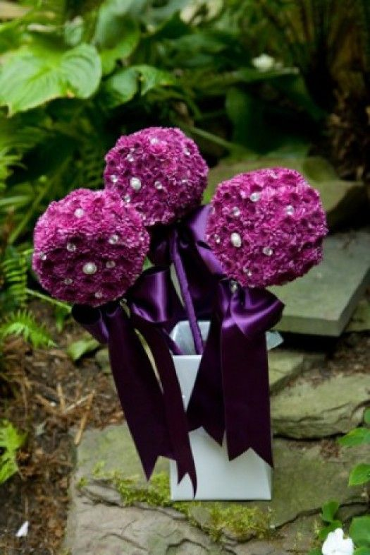 My favourite colour scheme - deep purples and eggplants! These wands weren't actually made for a wedding - they were for winners of a cricket match. Who wouldn't love to win one of these? Think about these for your next party or competition. Floral wands aren't just for weddings!