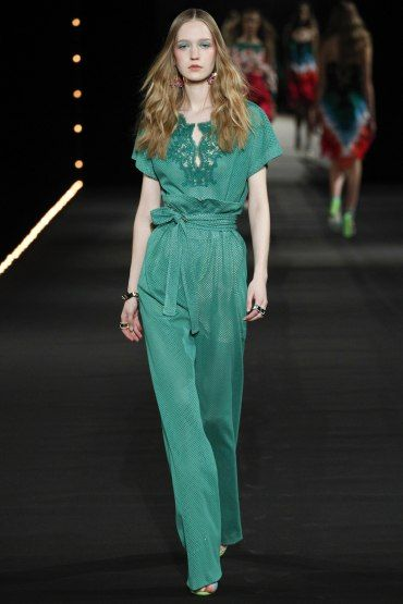 PFW: Alexis Mabille's Watermelon Runway | Green Satin and Lace Jumpsuit | The Luxe Lookbook