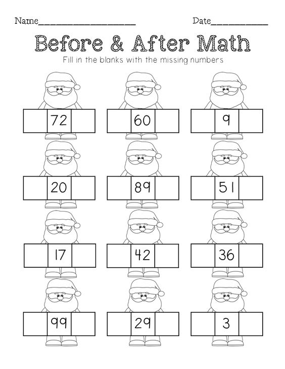 Christmas Math sequencing missing number counting on and tens – Number Sequencing Worksheets Kindergarten
