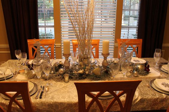 Silver and White Snowflake Table  Christmas Eve 2012