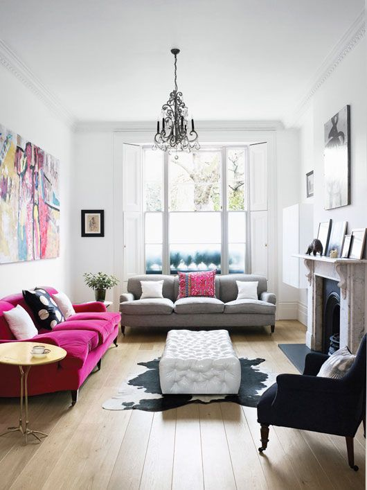 neutral, hot pink, and grey living room. photo by henry bourne. I would trade hot pink for periwinkle, navy, or mint blue personally: