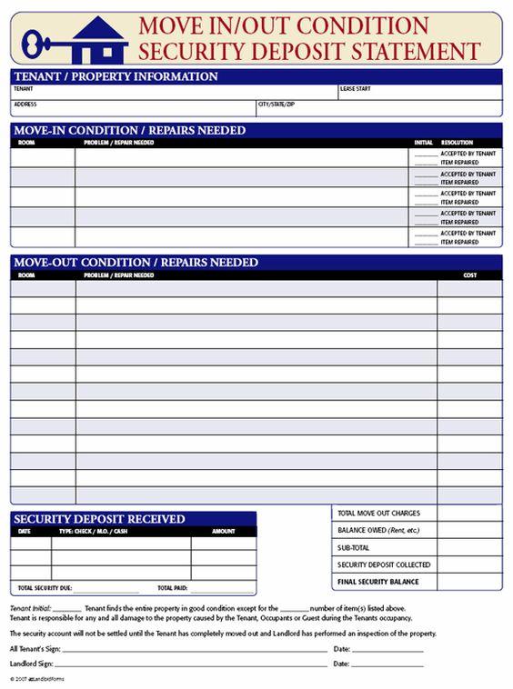 Security Deposit Receipt Move InOut Condition – Tenant Receipt