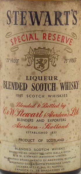 C Stewart's Special Reserve Liqueur Blended Scotch Whisky Aberdeen Scotland
