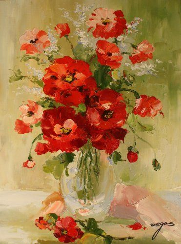 High Quality Oil Painting on Stretched Canvas 12x16- Flowers in Vase Oil on Canvas. Unique. 12 x 16. Hand Painted. Stretched.  #Oil_Painting #Home