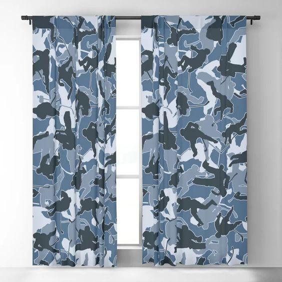 Ice Hockey Player Camo Urban Blue Blackout Curtain In 2020 Blue Blackout Curtains Blackout Curtains Curtains