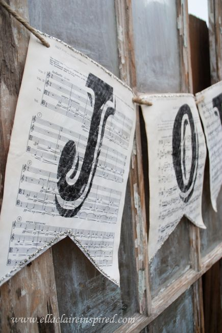- Vintage Sheet Music Christmas Banners, Glass Glitter and Jute