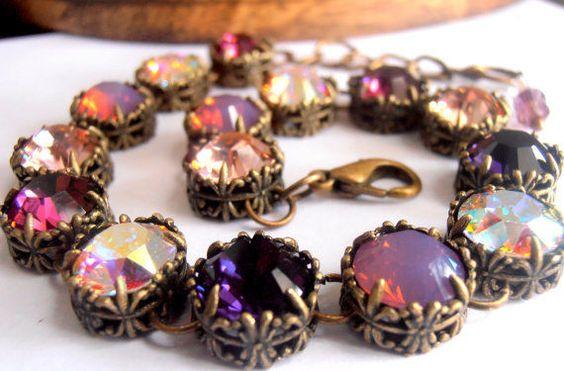 Swarovski Crystal Bracelet, Multi Purples, Art Deco Filigree Tennis Bracelet,   #Handmade #ArtDecoBraceletVintageStyle